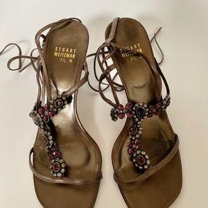 stuart weitzman ankle wrap  rhinestone sandals 7.5